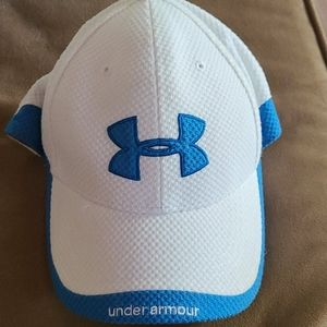 Under Armour Heat Gear Hat, White with Blue